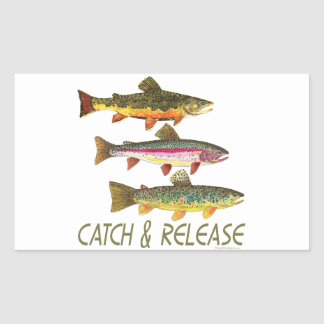 Trout Catch and Release Rectangular Sticker