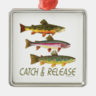 Trout Catch and Release Silver-Colored Square Decoration