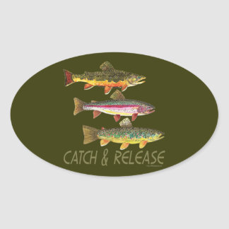 Trout Catch and Release Oval Stickers