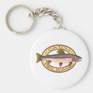 Trout Catch & Release Fishing Basic Round Button Key Ring