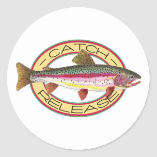 Trout Catch & Release Fishing Classic Round Sticker