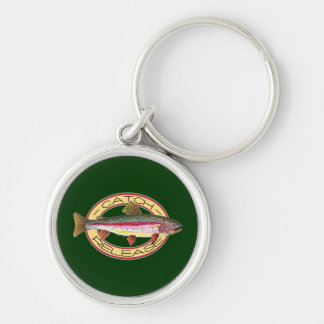 Trout Catch & Release Fishing Silver-Colored Round Key Ring