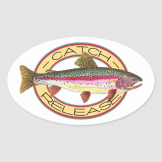 Trout Catch & Release Fishing Oval Stickers