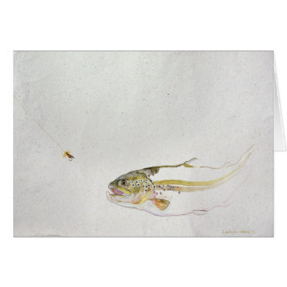 Trout chasing a fisherman's fly card