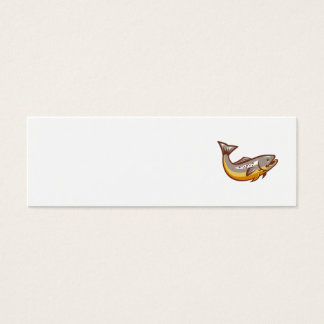 Trout Fish Jumping Retro Mini Business Card