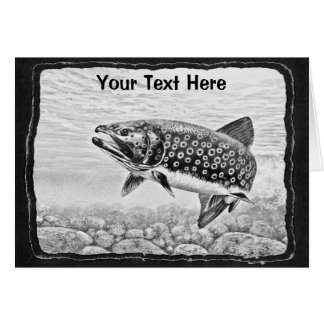 Trout Fishing art Note Card