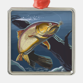 Trout Fishing Cross-Section 2 Christmas Ornament