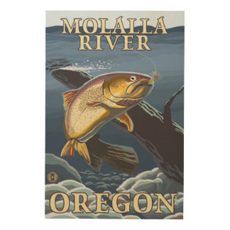 Trout Fishing Cross-Section - Molalla River, Wood Wall Art