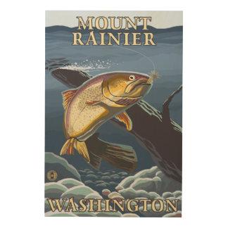 Trout Fishing Cross-Section - Mount Rainier, Wood Print