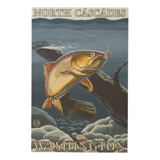 Trout Fishing Cross-Section - North Cascades, Wood Wall Art