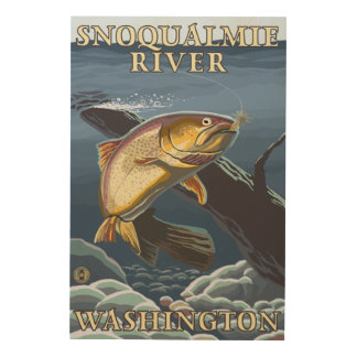 Trout Fishing Cross-Section - Snoqualmie River, Wood Wall Art