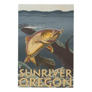 Trout Fishing Cross-Section - Sun River, Wood Wall Art