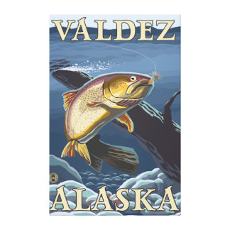 Trout Fishing Cross-Section - Valdez, Alaska Gallery Wrap Canvas