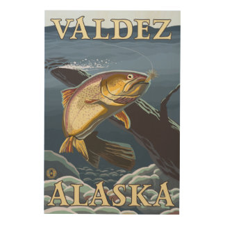 Trout Fishing Cross-Section - Valdez, Alaska Wood Canvases