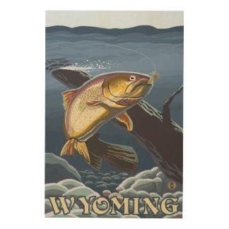 Trout Fishing Cross-Section - Wyoming Wood Wall Decor
