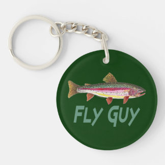Trout Fishing Double-Sided Round Acrylic Key Ring