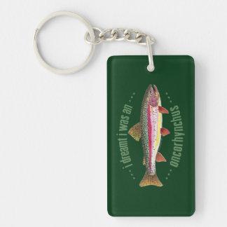 Trout Fishing Double-Sided Rectangular Acrylic Key Ring