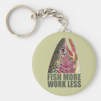 Trout Fishing More Basic Round Button Key Ring