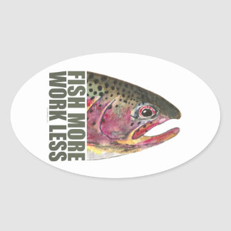 Trout Fishing More Oval Sticker