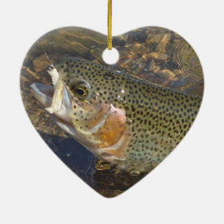 Trout Fishing Valentine's Day Heart Shaped Christmas Ornament