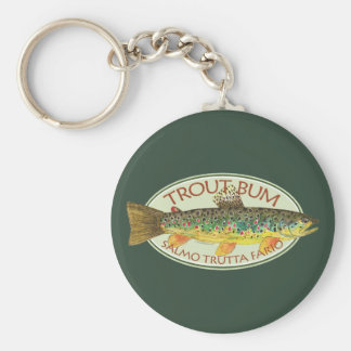 Trout Fly Fishing Basic Round Button Key Ring