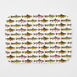 Trout Fly Fishing Brook, Rainbow, Brown Burp Cloth