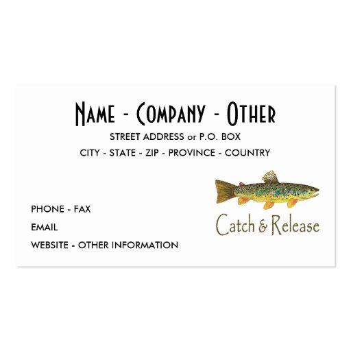 Trout fly fishing double sided standard business cards for Fishing business cards