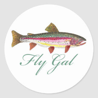 Trout Fly Fishing Classic Round Sticker