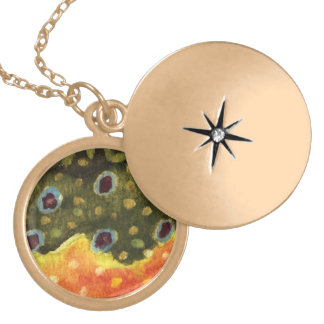 Trout Fly Fishing Gold Plated Necklace