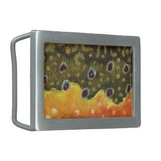 Trout Fly Fishing Rectangular Belt Buckles