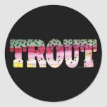 Trout Fly Fishing Round Sticker