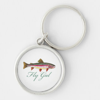 Trout Fly Fishing Silver-Colored Round Key Ring