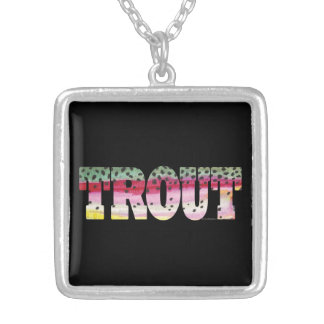 Trout Fly Fishing Silver Plated Necklace