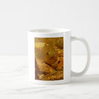 Trout in stream basic white mug