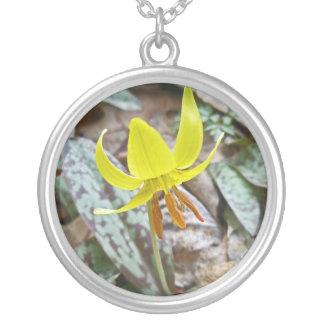 Trout Lily Wildflower - Erythronium americanum Round Pendant Necklace