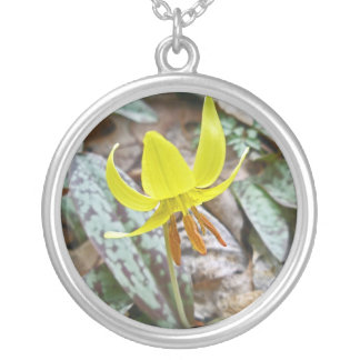 Trout Lily Wildflower - Erythronium americanum Round Pendant Necklace