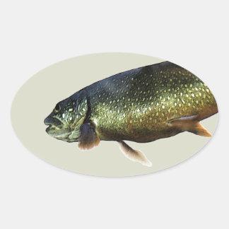Trout on Beige Oval Sticker