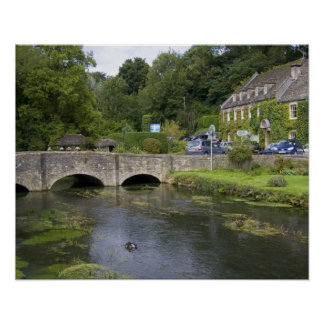 Trout stream in the village of Bibury, Poster