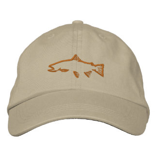 Trout Tracker Distressed Hat - Khaki Embroidered Baseball Caps