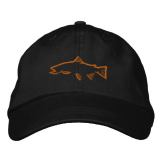 Trout Tracker Hat - Black Embroidered Cap