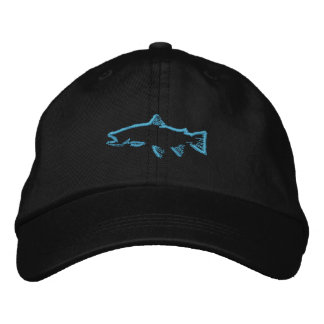 Trout Tracker Hat - Blue Embroidered Cap