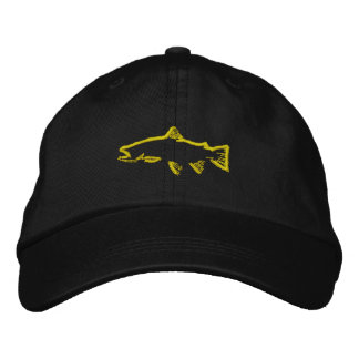 Trout Tracker Hat - Yellow Embroidered Cap