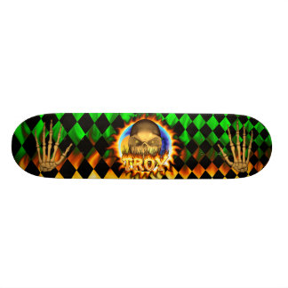 Troy skull real fire and flames skateboard design