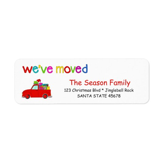 Truck and gifts Christmas label We've Moved