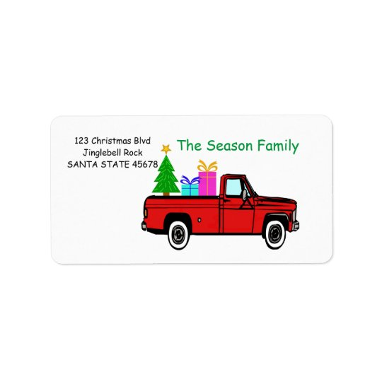 Truck and tree Christmas label