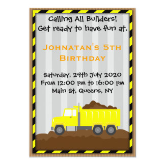 Truck Construction Birthday Invitation