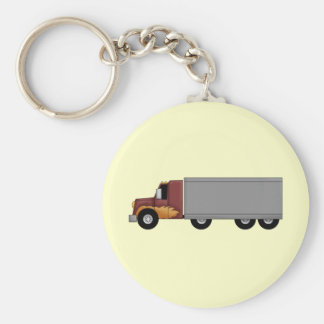 Truck Driver Basic Round Button Key Ring