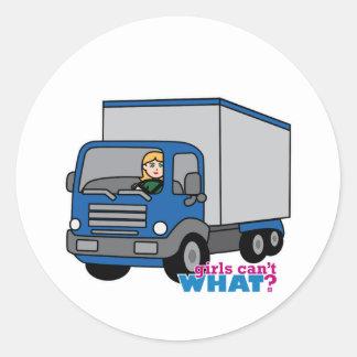 Truck Driver - Blue Truck Round Sticker