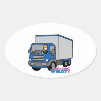 Truck Driver - Blue Truck Oval Sticker