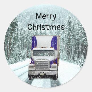 Truck Driver Christmas Classic Round Sticker